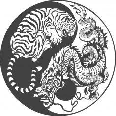 Tiger Dragon Yin Yang Vector Art CDR File