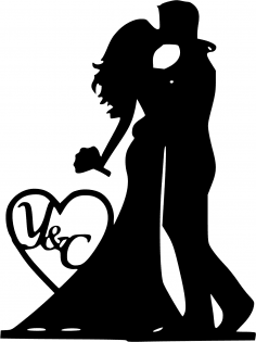 Mr and Mrs Silhouette Black Bride and Groom Vector CDR File