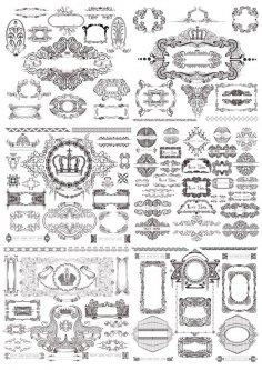Vintage Ornaments Decor Set Free Vector