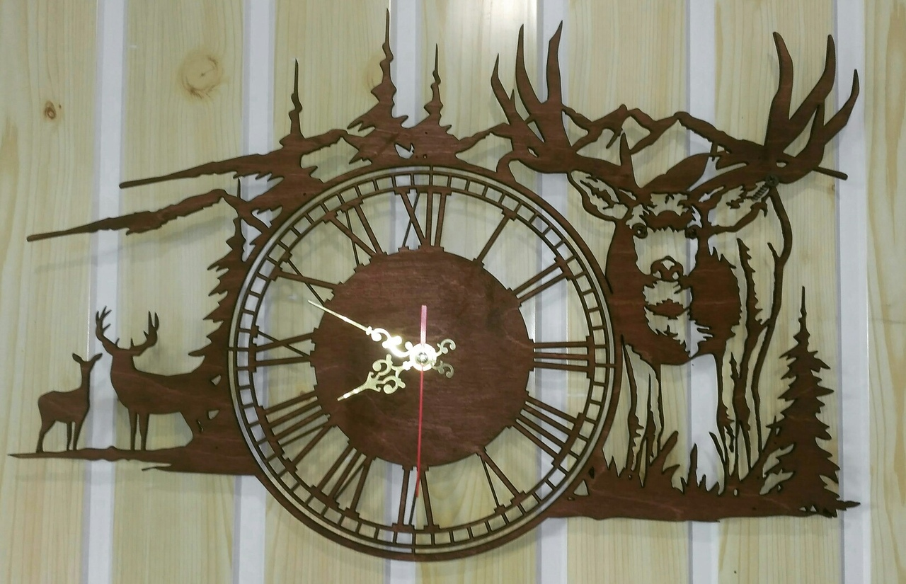 clock deer in the mountains dxf file free download