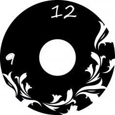 Flowers Vinyl Record Wall Art Clock Laser Cut Template Free Vector