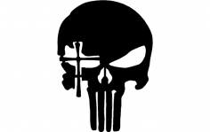 Skull with cross eye dxf File