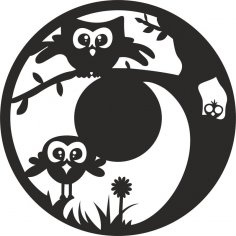 Decorative Owls Clock Plan CDR File