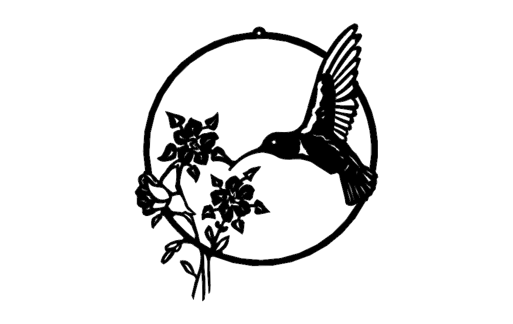 Hummingbird With Flowers Dxf File Free Download 3axis Co