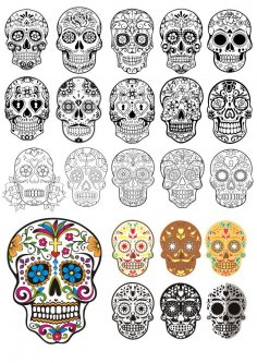 Day Of The Dead Skulls vector art CDR File