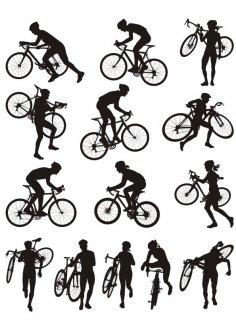 Cyclocross racing vector silhouette CDR File