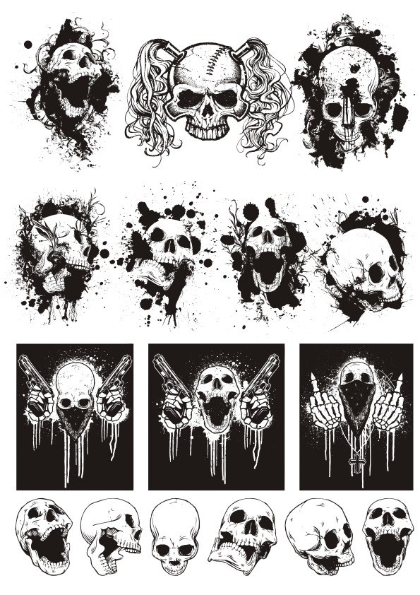 Skull T-shirt designs logos vector set CDR File