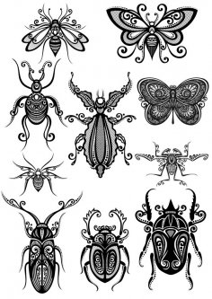 Ornament Insect Art Vector Pack CDR File