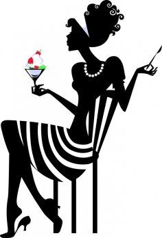 Elegant Woman Silhouette Vector CDR File