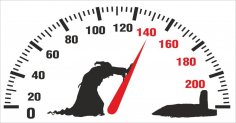 Death pushing arrow of speedometer Car Sticker CDR File