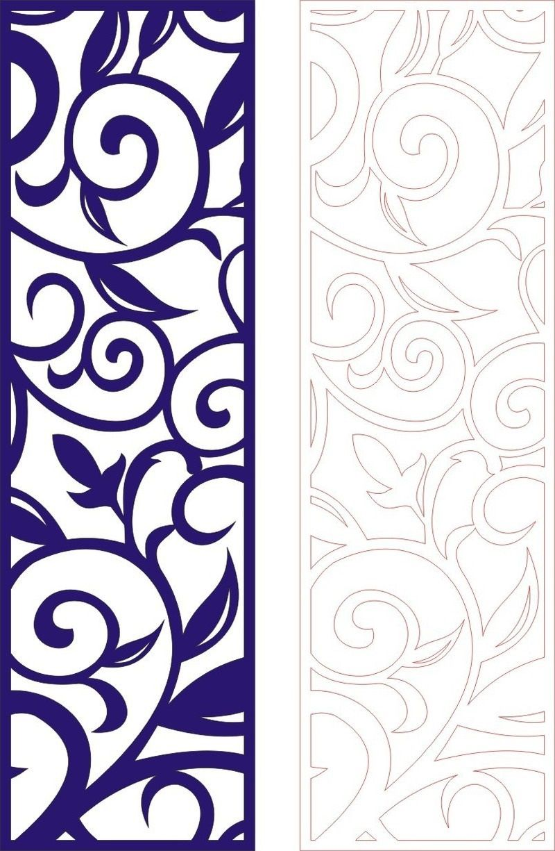 Cutout partition lace floral porch template dxf File