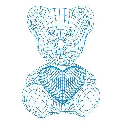Teddy Bear With Heart 3d Illusion Lamp Plan Free Vector
