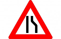 Road Narrow Sign On The Right dxf File