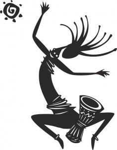 Kokopelli Figure Dancing Vector dxf File