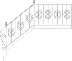 Wrought Iron Stairs Railing, Fence And Grilles CDR File