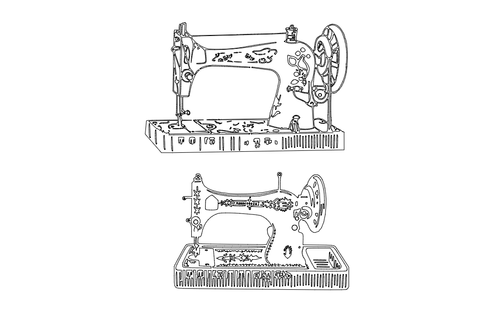 Vintage Sewing Machine Dxf File Free Download 3axis Co