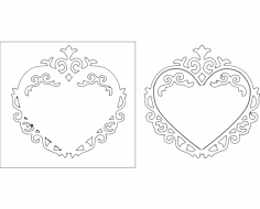 Heart Frame 10 dxf File
