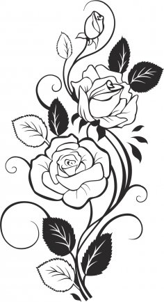 Black and White Rose Vector CDR File