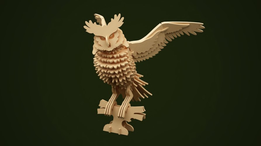 Owl 3d Puzzle Free Vector Cdr Download 3axis Co