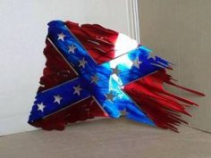 Rebel Tattered Flag dxf File