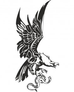 Eagle with Snake in Claws Vector CDR File