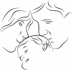 Mother Father with baby dxf File