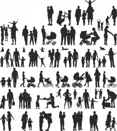 Family Silhouette Vector Set CDR File