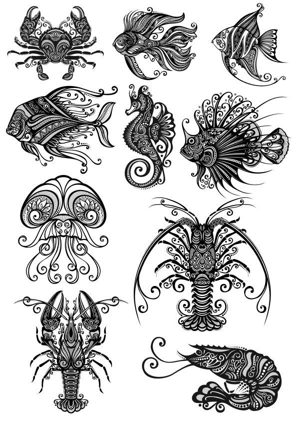 Ornament Sea Amimals Art Vector Pack CDR File