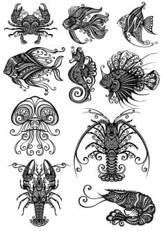 Ornament Sea Amimals Art Vector Pack CDR File