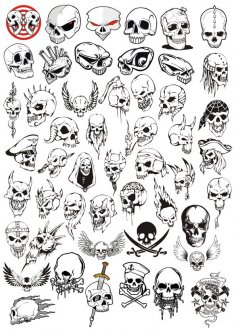 Horror Halloween Skulls Vector Set CDR File