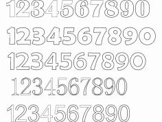 12345 Number Fonts dxf File