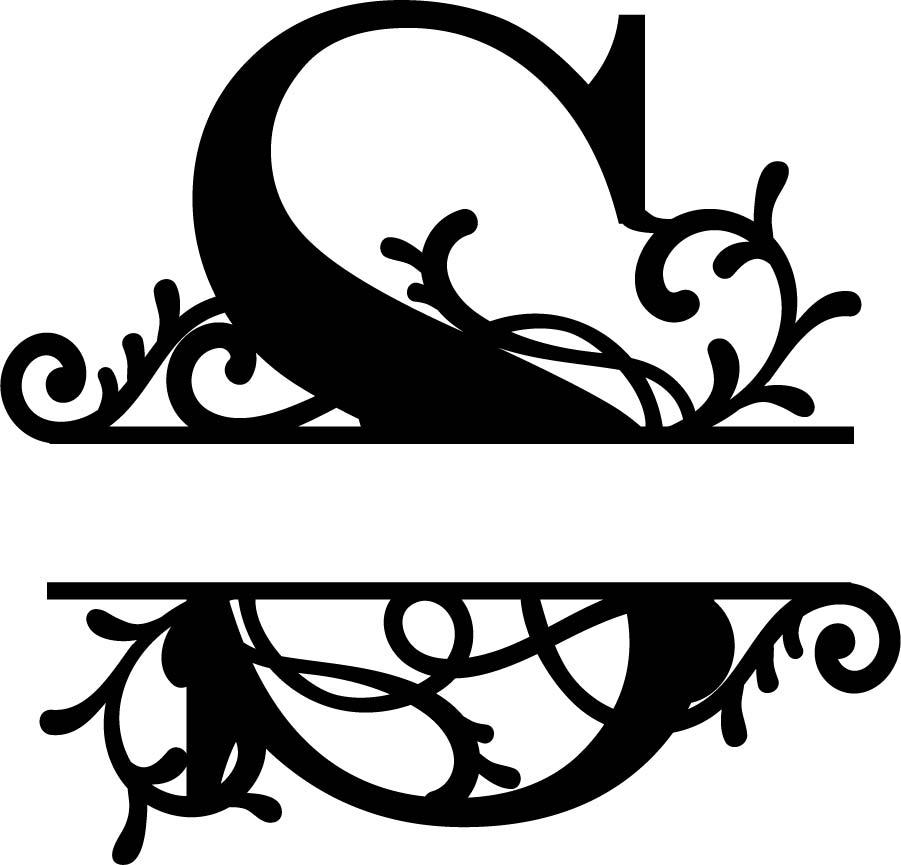 flourished split monogram s letter   eps  free vector download