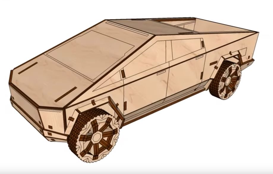 Laser Cut Plywood Tesla Cybertruck Template Free Vector