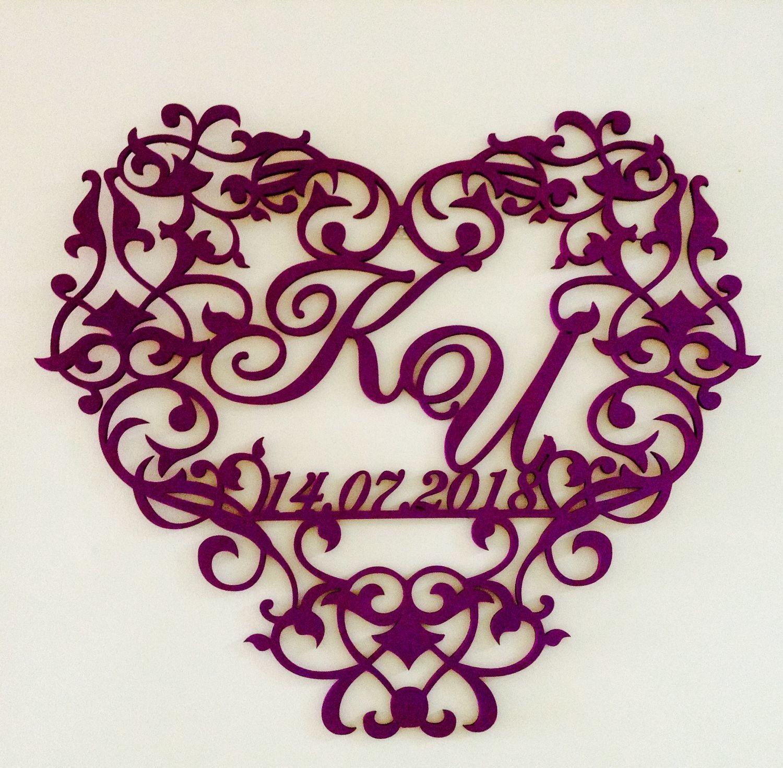 Laser Cut Decorative Heart Wedding Monogram Free Vector Cdr Download 3axis Co