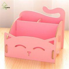 Laser Cut Cute Cat Desktop Storage Box Organizer Pen Holder Free Vector