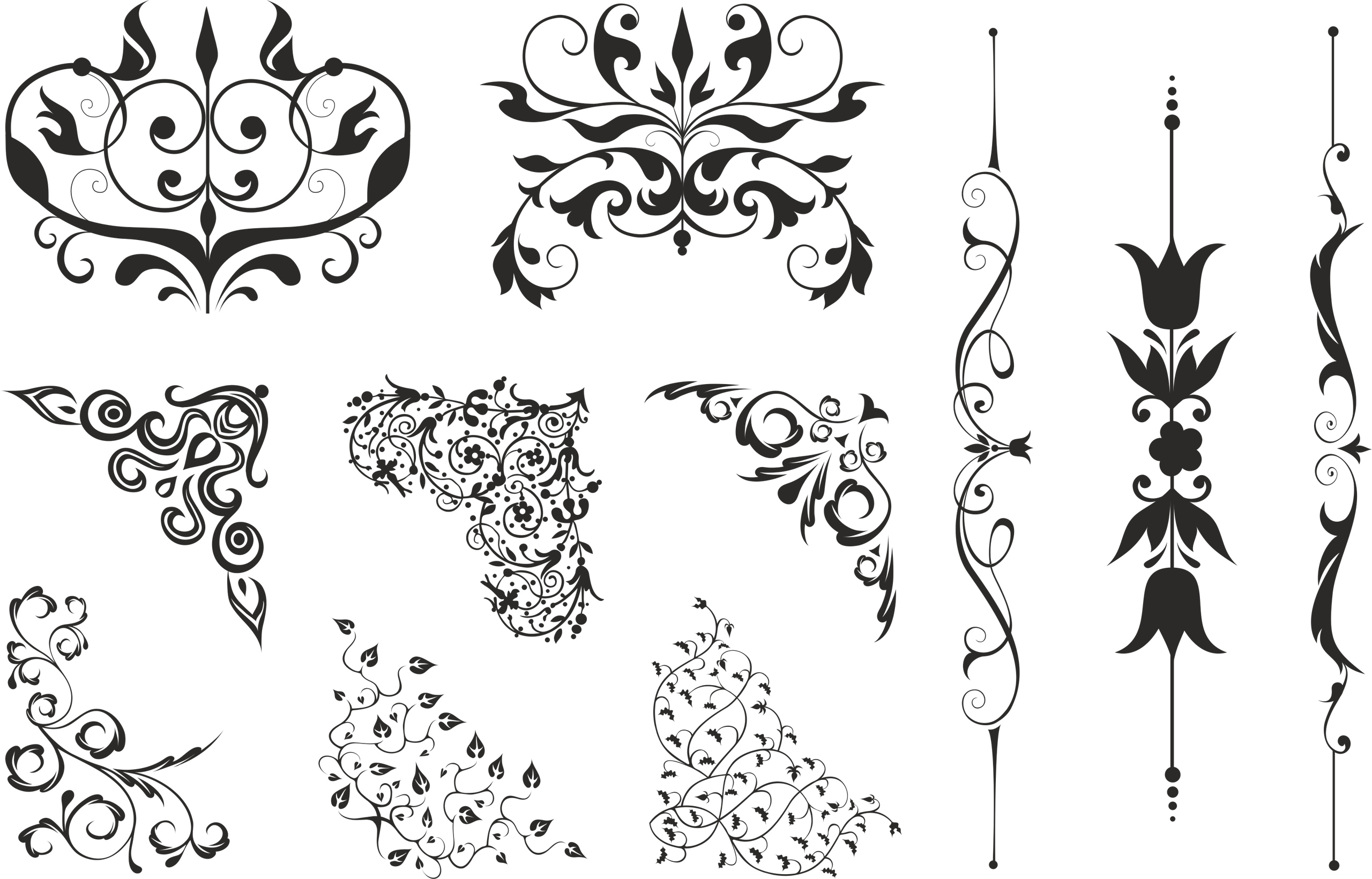 Floral Corners Swirl Free Vector Cdr Download 3axisco