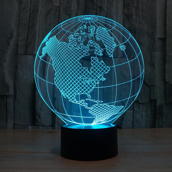 Planet Earth 3d illusion acrylic lamp DXF File Free Download