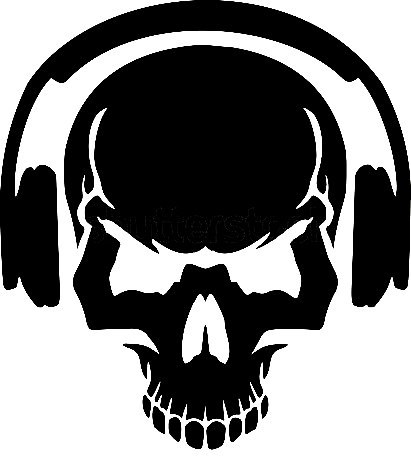 Skull with headphones vector art DXF File Free Download ...