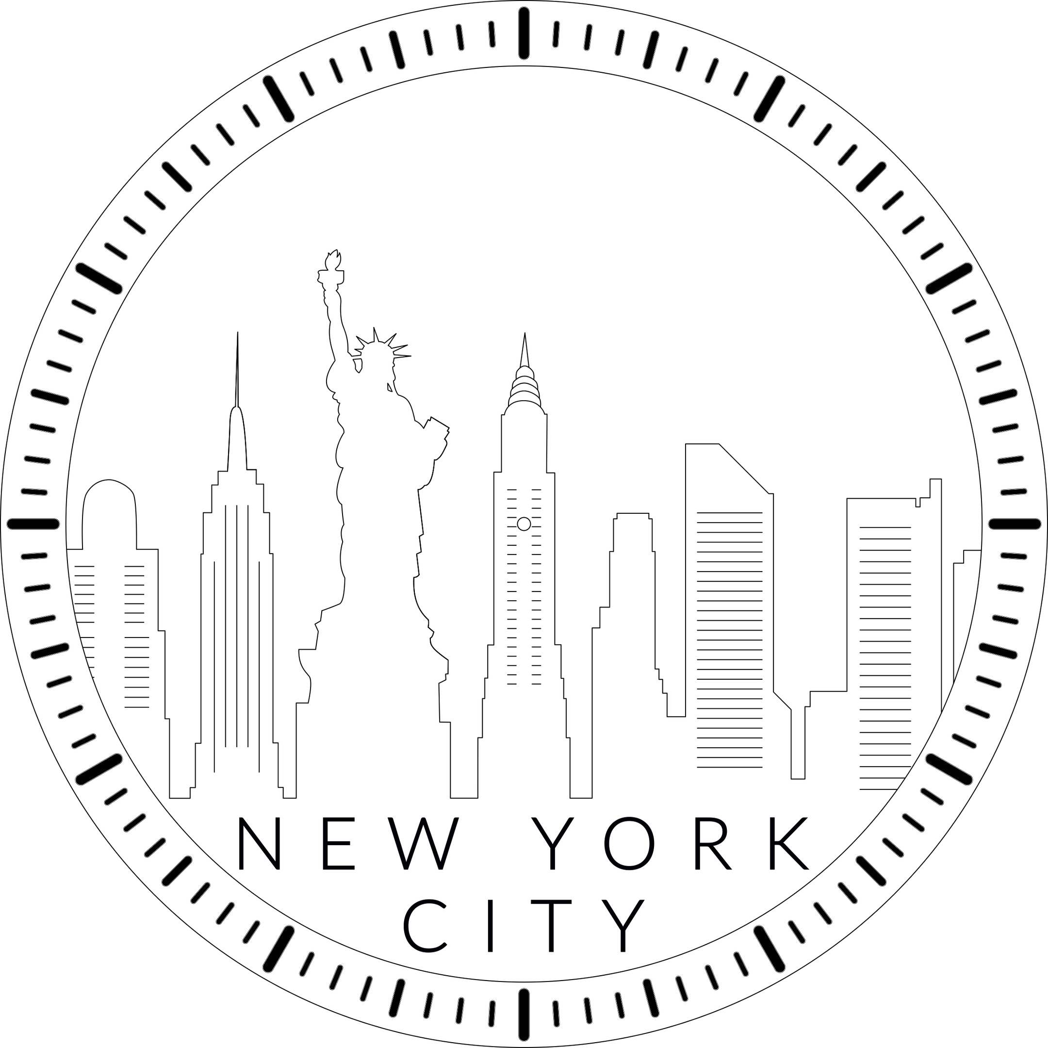 New York City Skyline Clock Laser Cut Template Pdf File Free Download 3axis Co