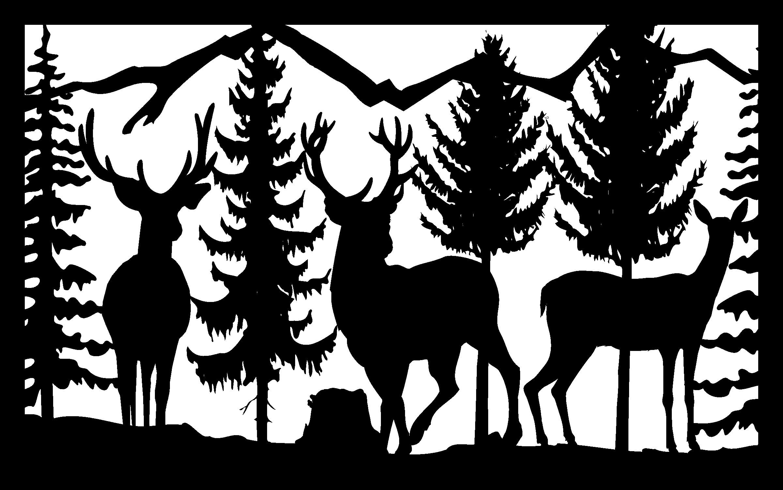 30 X 48 Three Deer Mountains Trees Plasma Art DXF File Free