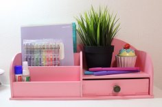 Laser Cut Makeup Organizer Cosmetic Storage Box Desk Organizer For Cosmetics Drawer Free Vector