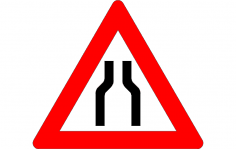 Traffic Narrow Road Sign dxf File