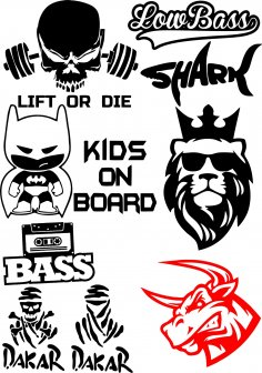 Vinyl Stickers on Car Vector Pack CDR File