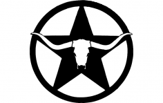 western longhorn star wall art dxf File