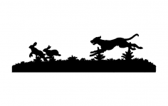 Dog Chasing Rabbits dxf File