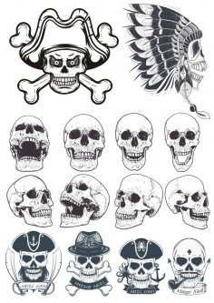 Dotwork Skulls Vector Art CDR File