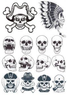 Dotwork Skulls Vector Art CDR File