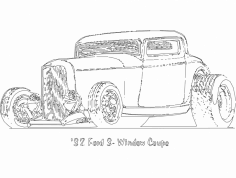 32 Ford 3 window Coupe dxf File