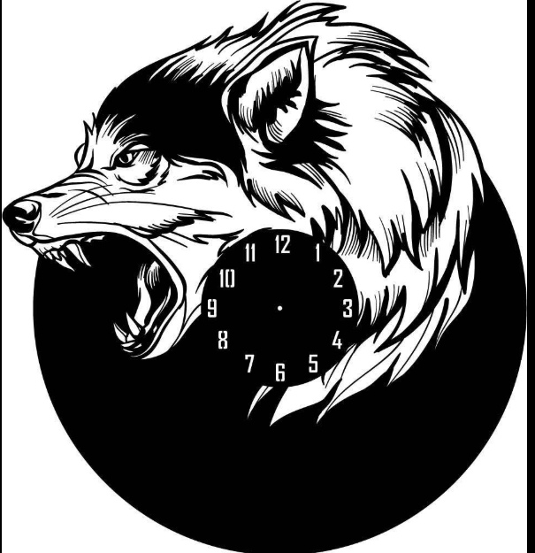 Wolf Shape Wall Clock Laser Cut DXF File Free Download - 3axis co