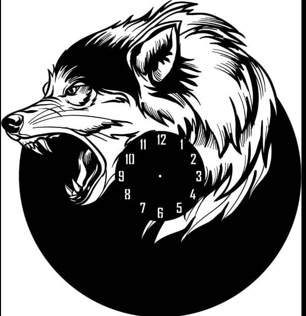 Wolf Shape Wall Clock Laser Cut Dxf File Free Download